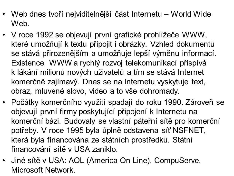 •Web dnes tvoří nejviditelnější část Internetu – World Wide Web.