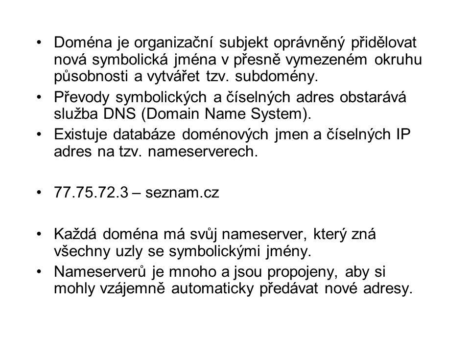 •Podrobnější formát URL: •protokol://[uživatel:[heslo]]@ doména [:port] / [cesta/[objekt-jméno]] •Části v hranatých závorkách lze vynechat.