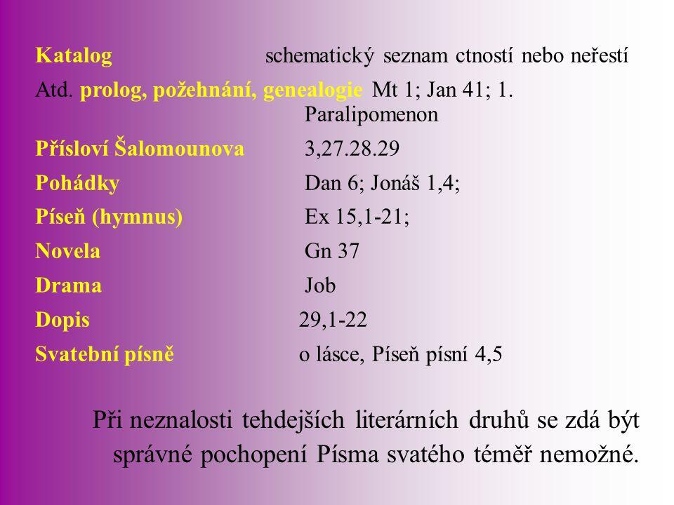 Katalog schematický seznam ctností nebo neřestí Atd. prolog, požehnání, genealogieMt 1; Jan 41; 1. Paralipomenon Přísloví Šalomounova3,27.28.29 Pohádk