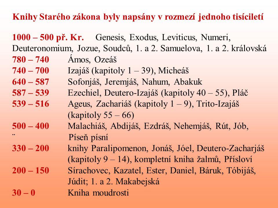 1000 – 500 př. Kr.Genesis, Exodus, Leviticus, Numeri, Deuteronomium, Jozue, Soudců, 1. a 2. Samuelova, 1. a 2. královská 780 – 740Ámos, Ozeáš 740 – 70