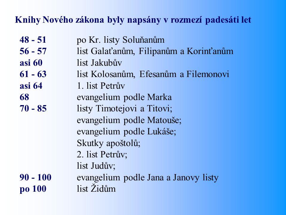 48 - 51po Kr. listy Soluňanům 56 - 57 list Galaťanům, Filipanům a Korinťanům asi 60list Jakubův 61 - 63list Kolosanům, Efesanům a Filemonovi asi 641.