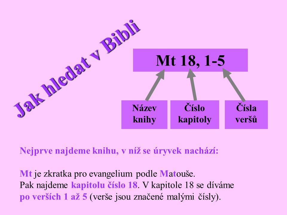 Jak hledat v Bibli Název knihy Číslo kapitoly Čísla veršů Mt 18, 1-5 Nejprve najdeme knihu, v níž se úryvek nachází: Mt je zkratka pro evangelium podl