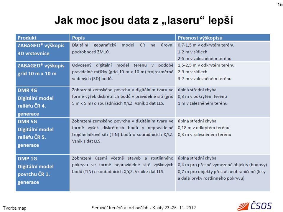 """Seminář trenérů a rozhodčích - Kouty 23.-25. 11. 2012 Tvorba map 15 Jak moc jsou data z """"laseru"""" lepší"""