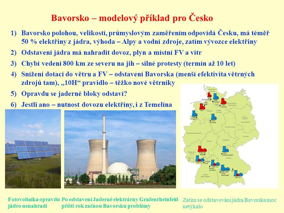 Bavorsko – modelový příklad pro Česko Po odstavení Jaderné elektrárny Grafenrheinfeld příští rok začnou Bavorsku problémy Zatím se odstavování jádra B