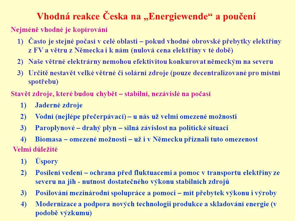 """Vhodná reakce Česka na """"Energiewende"""" a poučení Nejméně vhodné je kopírování 1)Často je stejné počasí v celé oblasti – pokud vhodné obrovské přebytky"""