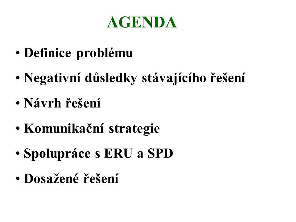 AGENDA • Definice problému • Negativní důsledky stávajícího řešení • Návrh řešení • Komunikační strategie • Spolupráce s ERU a SPD • Dosažené řešení