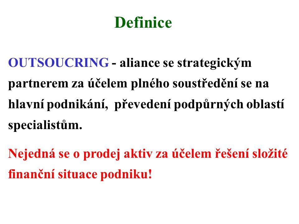 Definice OUTSOUCRING - aliance se strategickým partnerem za účelem plného soustředění se na hlavní podnikání, převedení podpůrných oblastí specialistům.