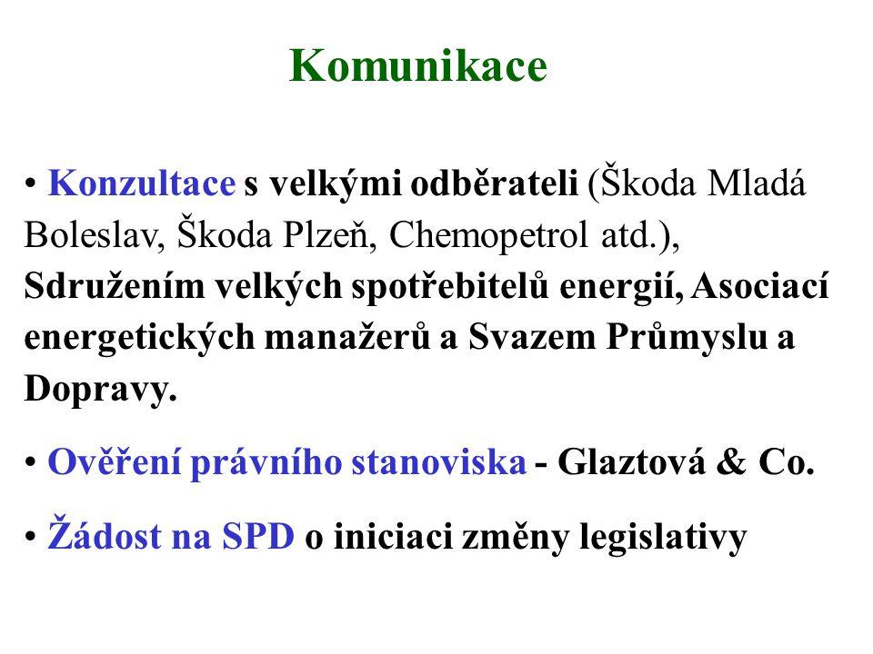 Komunikace • Konzultace s velkými odběrateli (Škoda Mladá Boleslav, Škoda Plzeň, Chemopetrol atd.), Sdružením velkých spotřebitelů energií, Asociací energetických manažerů a Svazem Průmyslu a Dopravy.