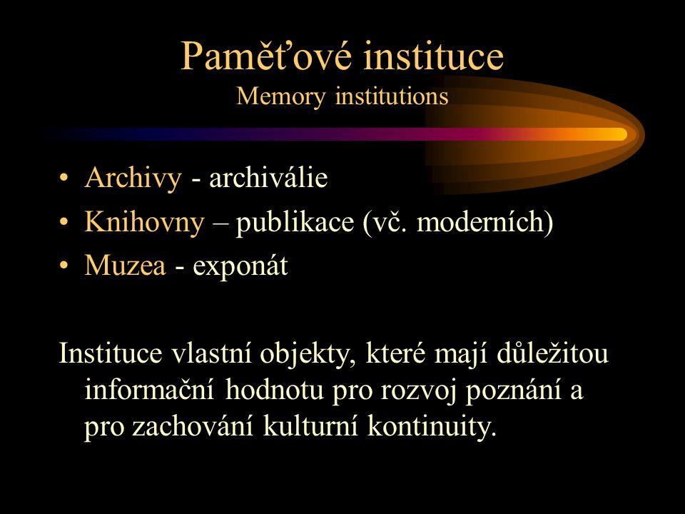 Paměťové instituce Memory institutions •Archivy - archiválie •Knihovny – publikace (vč.