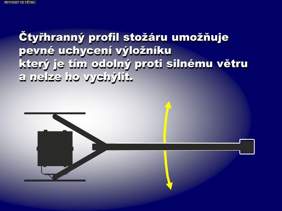 Čtyřhranný profil stožáru umožňuje pevné uchycení výložníku který je tím odolný proti silnému větru a nelze ho vychýlit.