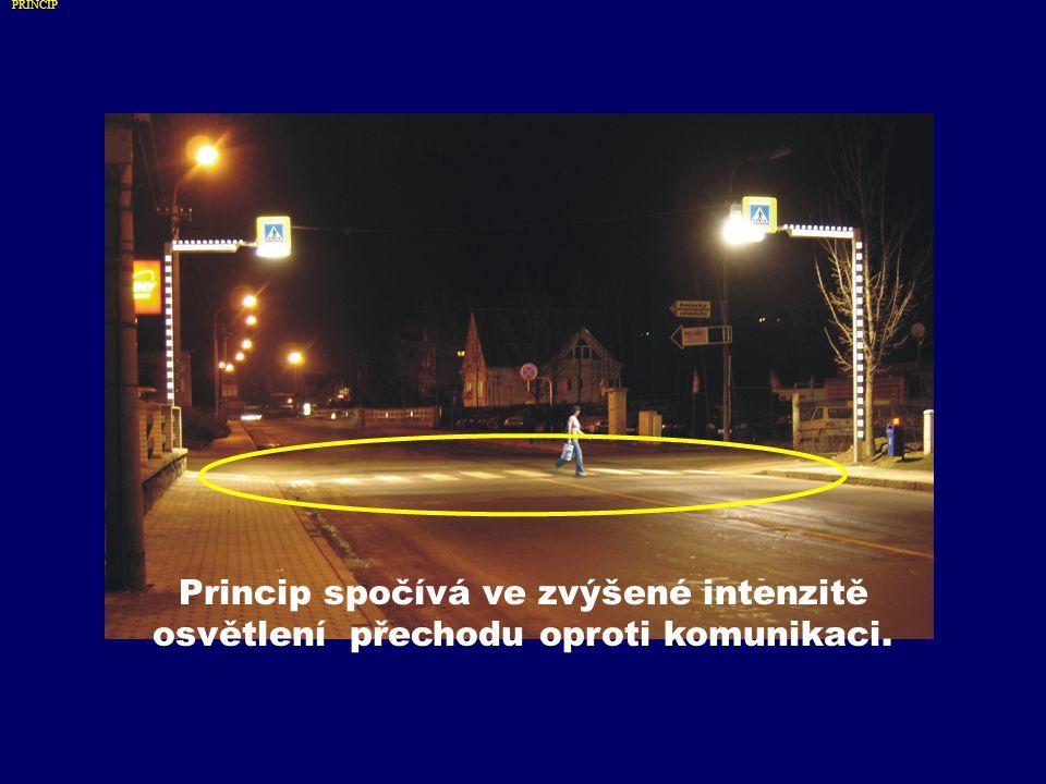 Princip spočívá ve zvýšené intenzitě osvětlení přechodu oproti komunikaci. PRINCIP