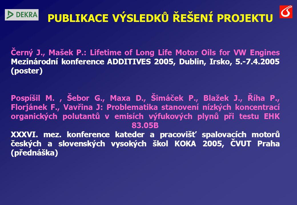 PUBLIKACE VÝSLEDKŮ ŘEŠENÍ PROJEKTU Černý J., Mašek P.: Lifetime of Long Life Motor Oils for VW Engines Mezinárodní konference ADDITIVES 2005, Dublin, Irsko, 5.-7.4.2005 (poster) Pospíšil M., Šebor G., Maxa D., Šimáček P., Blažek J., Říha P., Florjánek F., Vavřina J: Problematika stanovení nízkých koncentrací organických polutantů v emisích výfukových plynů při testu EHK 83.05B XXXVI.