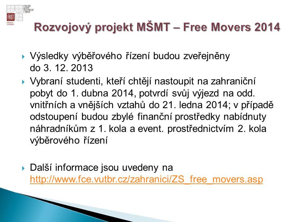  Výsledky výběřového řízení budou zveřejněny do 3. 12. 2013  Vybraní studenti, kteří chtějí nastoupit na zahraniční pobyt do 1. dubna 2014, potvrdí