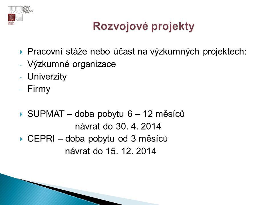  Pracovní stáže nebo účast na výzkumných projektech: - Výzkumné organizace - Univerzity - Firmy  SUPMAT – doba pobytu 6 – 12 měsíců návrat do 30. 4.
