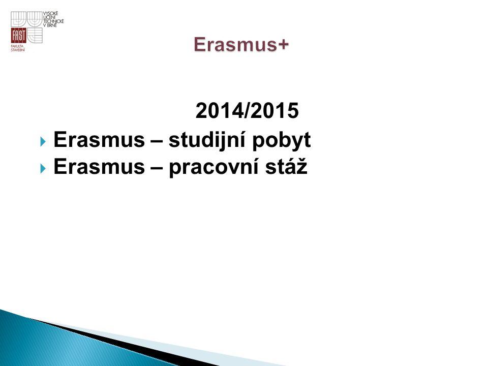 2014/2015  Erasmus – studijní pobyt  Erasmus – pracovní stáž