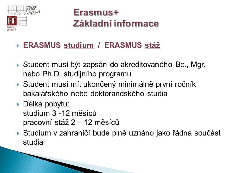  ERASMUS studium / ERASMUS stáž  Student musí být zapsán do akreditovaného Bc., Mgr. nebo Ph.D. studijního programu  Student musí mít ukončený mini