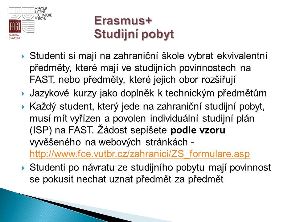  Studenti si mají na zahraniční škole vybrat ekvivalentní předměty, které mají ve studijních povinnostech na FAST, nebo předměty, které jejich obor r