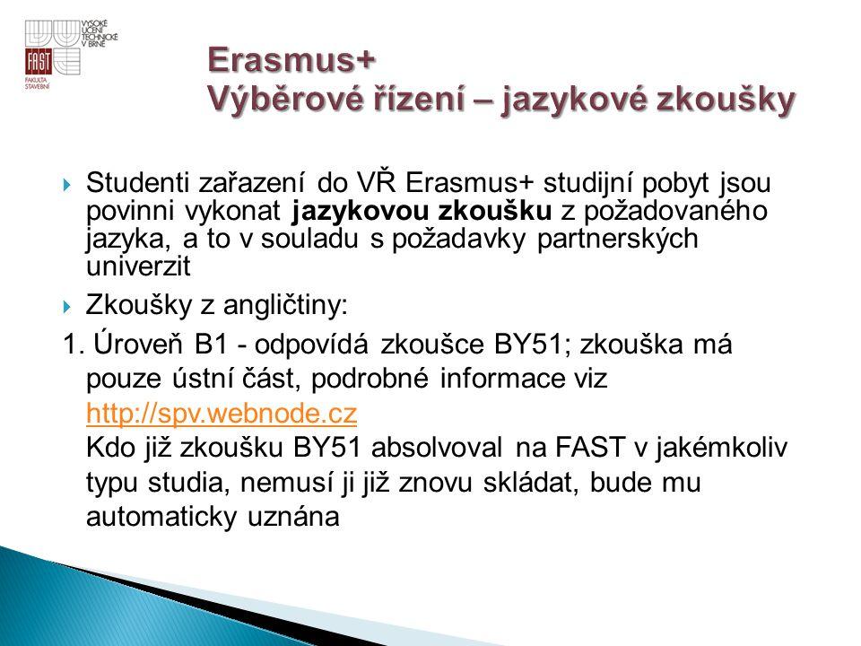  Studenti zařazení do VŘ Erasmus+ studijní pobyt jsou povinni vykonat jazykovou zkoušku z požadovaného jazyka, a to v souladu s požadavky partnerskýc