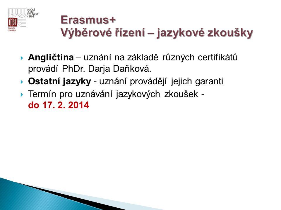  Angličtina – uznání na základě různých certifikátů provádí PhDr. Darja Daňková.  Ostatní jazyky - uznání provádějí jejich garanti  Termín pro uzná