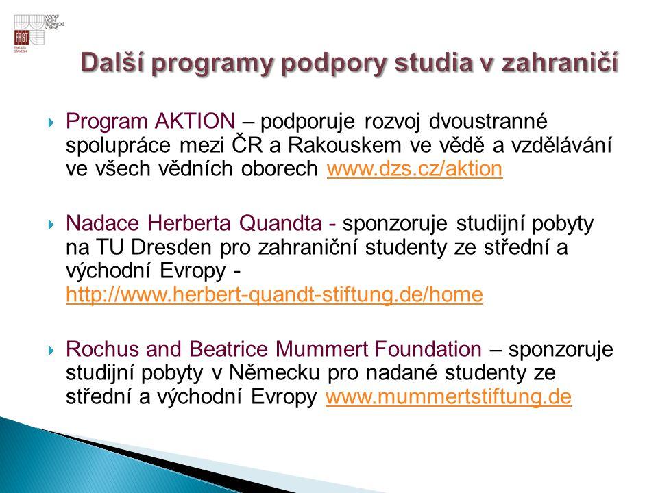  DAAD – německý akademický výměnný servis www.daad.cz  Fulbrightova komise – sponsoruje studenty i vědecké pracovníky na základě mezivládní dohody mezi Českou republikou a Spojenými státy za účelem podpory vzdělávacích, vědeckých a kulturních výměn mezi Spojenými státy a Českou republikou - http://www.fulbright.cz/ http://www.fulbright.cz/