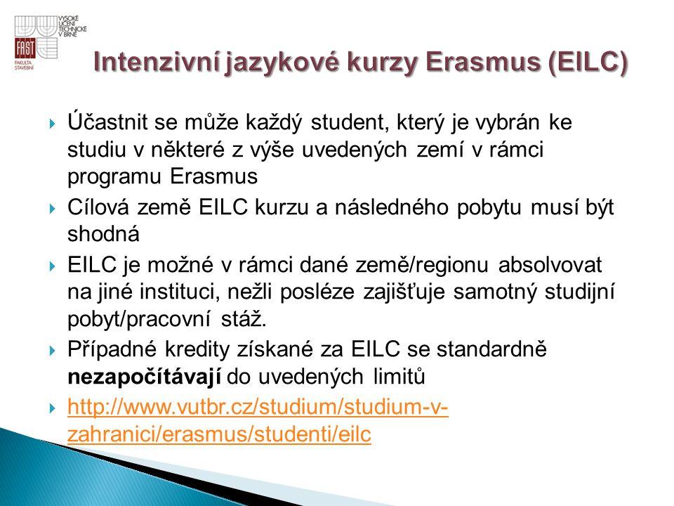  Účastnit se může každý student, který je vybrán ke studiu v některé z výše uvedených zemí v rámci programu Erasmus  Cílová země EILC kurzu a násled