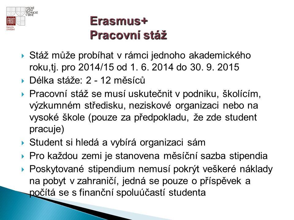  Stáž může probíhat v rámci jednoho akademického roku,tj. pro 2014/15 od 1. 6. 2014 do 30. 9. 2015  Délka stáže: 2 - 12 měsíců  Pracovní stáž se mu