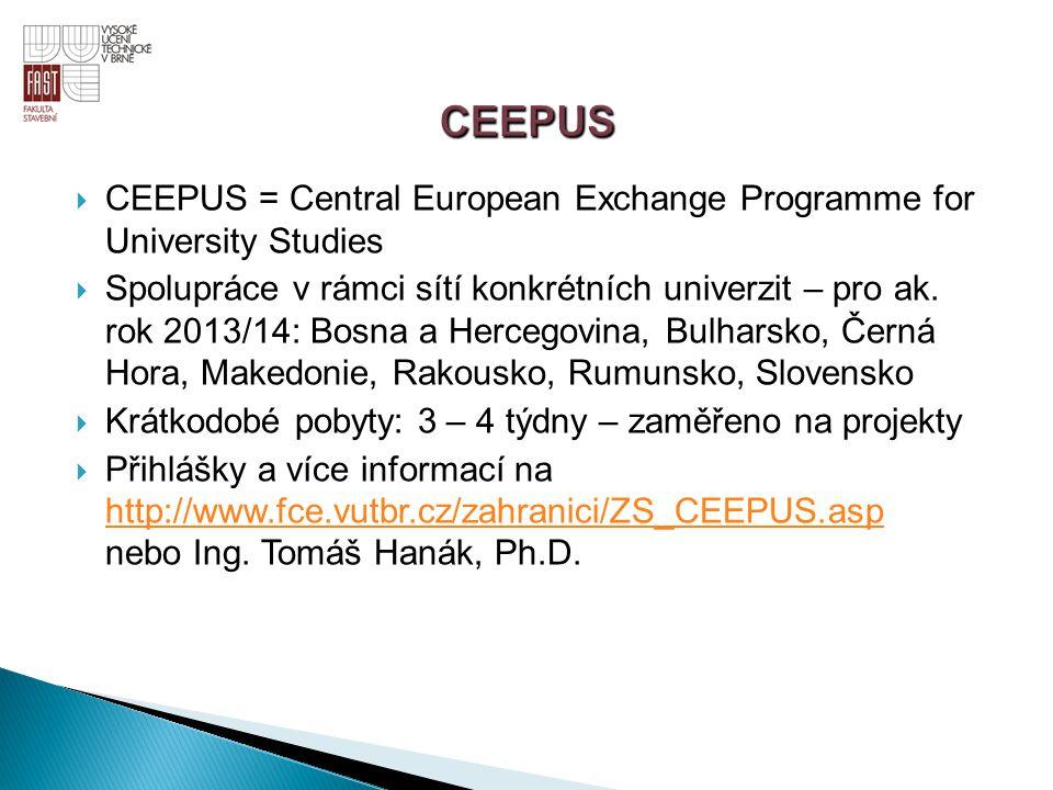  CEEPUS = Central European Exchange Programme for University Studies  Spolupráce v rámci sítí konkrétních univerzit – pro ak. rok 2013/14: Bosna a H