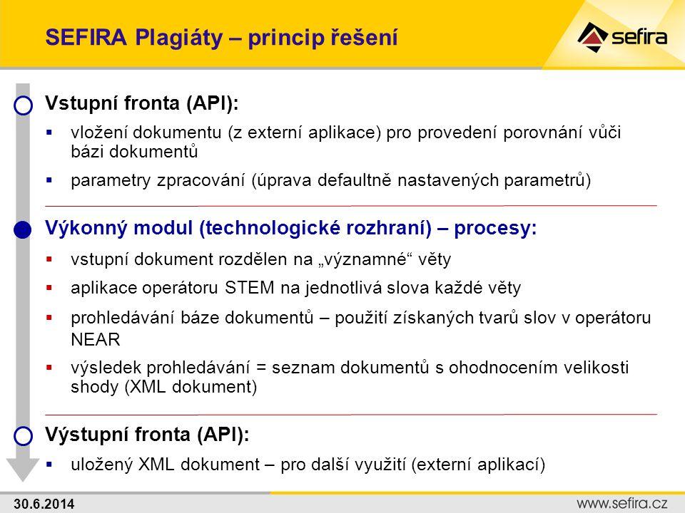 30.6.2014 SEFIRA Plagiáty – princip řešení Vstupní fronta (API):  vložení dokumentu (z externí aplikace) pro provedení porovnání vůči bázi dokumentů