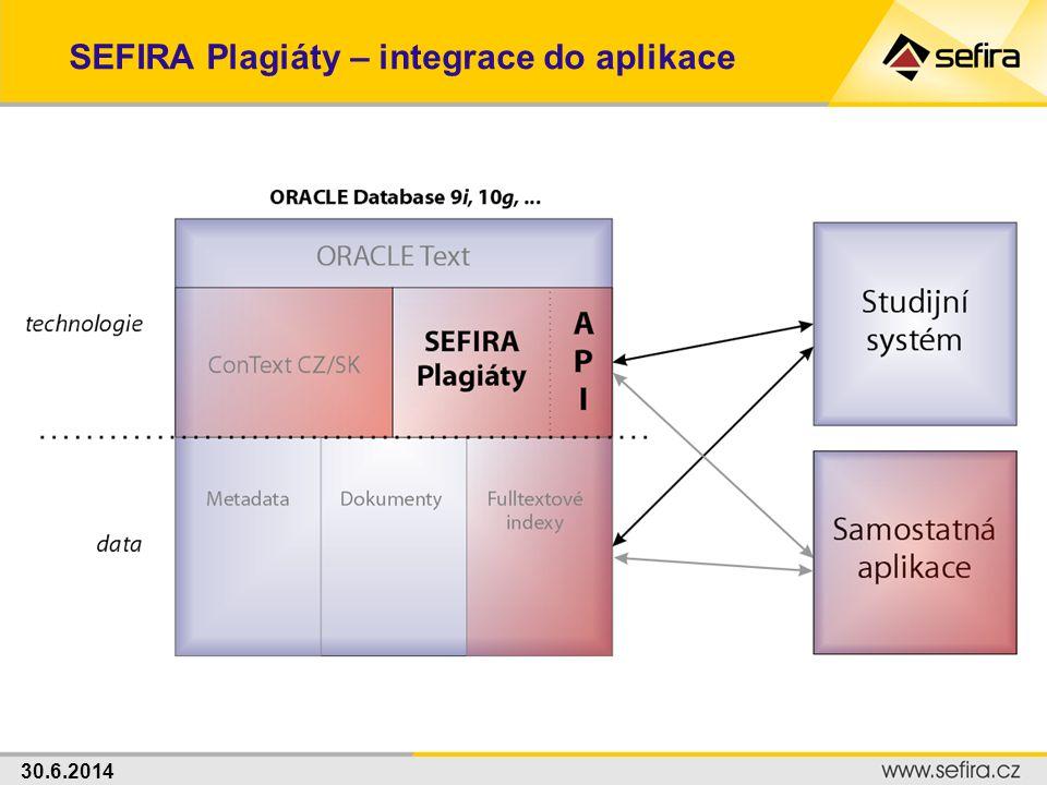 30.6.2014 SEFIRA Plagiáty – integrace do aplikace
