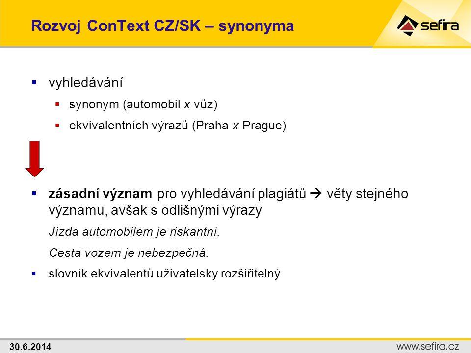 30.6.2014 Rozvoj ConText CZ/SK – synonyma  vyhledávání  synonym (automobil x vůz)  ekvivalentních výrazů (Praha x Prague)  zásadní význam pro vyhl