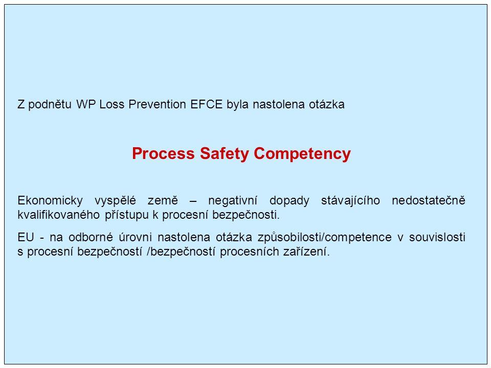 Z podnětu WP Loss Prevention EFCE byla nastolena otázka Process Safety Competency Ekonomicky vyspělé země – negativní dopady stávajícího nedostatečně kvalifikovaného přístupu k procesní bezpečnosti.