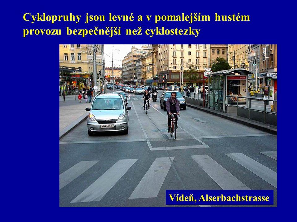 Cyklopruhy jsou levné a v pomalejším hustém provozu bezpečnější než cyklostezky Vídeň, Alserbachstrasse