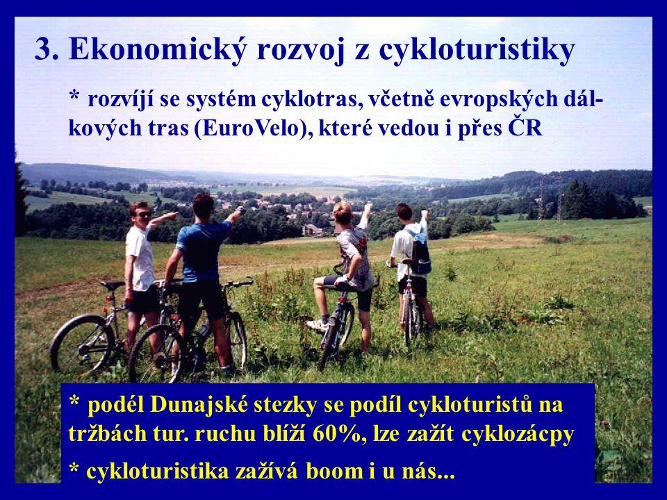 3. Ekonomický rozvoj z cykloturistiky * rozvíjí se systém cyklotras, včetně evropských dál- kových tras (EuroVelo), které vedou i přes ČR * cykloturis