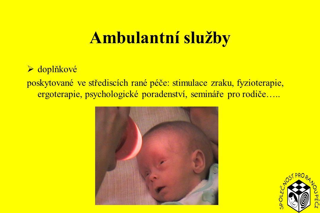 Ambulantní služby  doplňkové poskytované ve střediscích rané péče: stimulace zraku, fyzioterapie, ergoterapie, psychologické poradenství, semináře pro rodiče…..