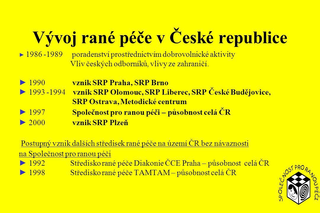 Vývoj rané péče v České republice ► 1986 -1989 poradenství prostřednictvím dobrovolnické aktivity Vliv českých odborníků, vlivy ze zahraničí.