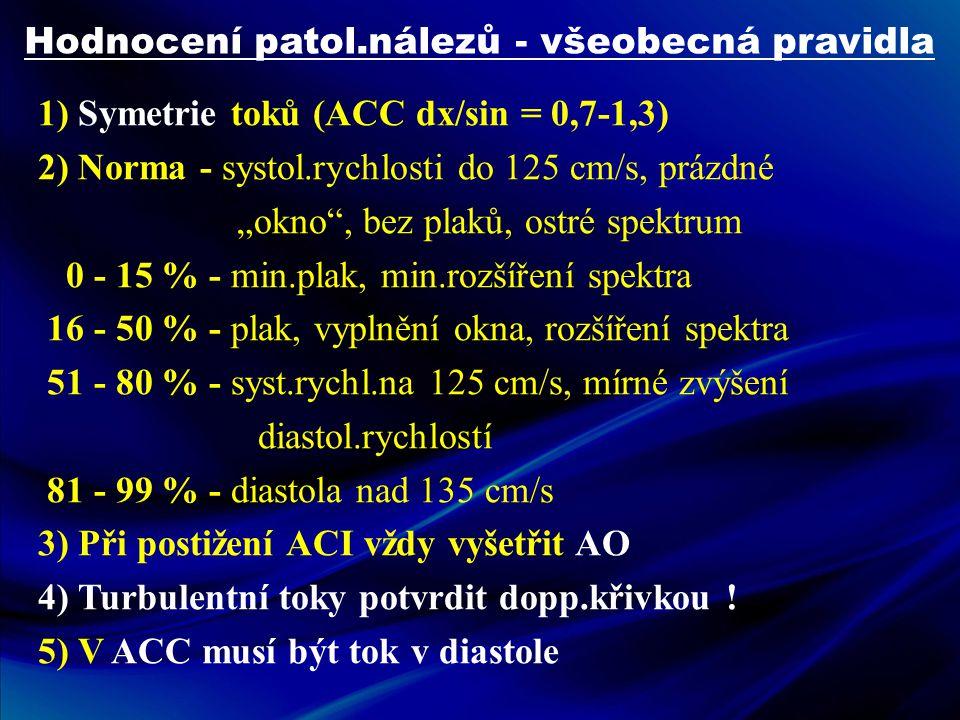 """Hodnocení patol.nálezů - všeobecná pravidla 1) Symetrie toků (ACC dx/sin = 0,7-1,3) 2) Norma - systol.rychlosti do 125 cm/s, prázdné """"okno"""", bez plaků"""