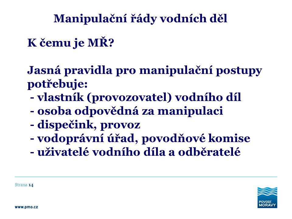 Manipulační řády vodních děl K čemu je MŘ? Jasná pravidla pro manipulační postupy potřebuje: - vlastník (provozovatel) vodního díl - osoba odpovědná z