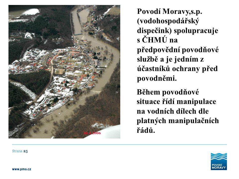 Povodí Moravy,s.p. (vodohospodářský dispečink) spolupracuje s ČHMÚ na předpovědní povodňové službě a je jedním z účastníků ochrany před povodněmi. Běh