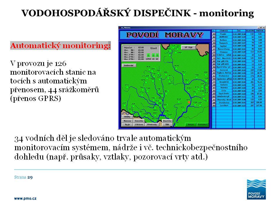 VODOHOSPODÁŘSKÝ DISPEČINK - monitoring Strana 29