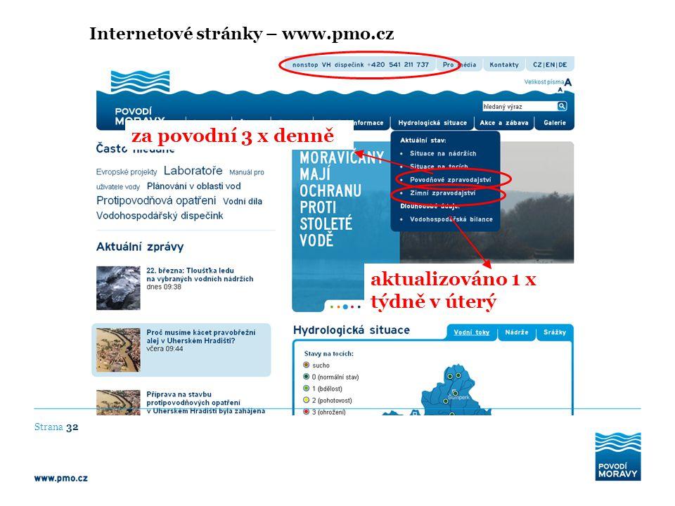 Internetové stránky – www.pmo.cz aktualizováno 1 x týdně v úterý Strana 32 za povodní 3 x denně