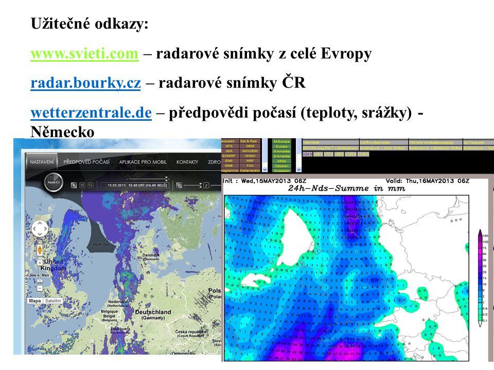 Užitečné odkazy: www.svieti.comwww.svieti.com – radarové snímky z celé Evropy radar.bourky.cz – radarové snímky ČR wetterzentrale.de – předpovědi poča