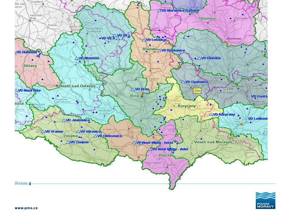 Strana 5 Celkové objemy významných vodních děl v Jihomoravském kraji: - prostor stálého nadržení: 72,5 mil.m 3 - zásobní prostor: 183,0 mil.m 3 - retenční prostor – ovladatelný: 46,5 mil.m 3 - neovladatelný: 16,6 mil.m 3