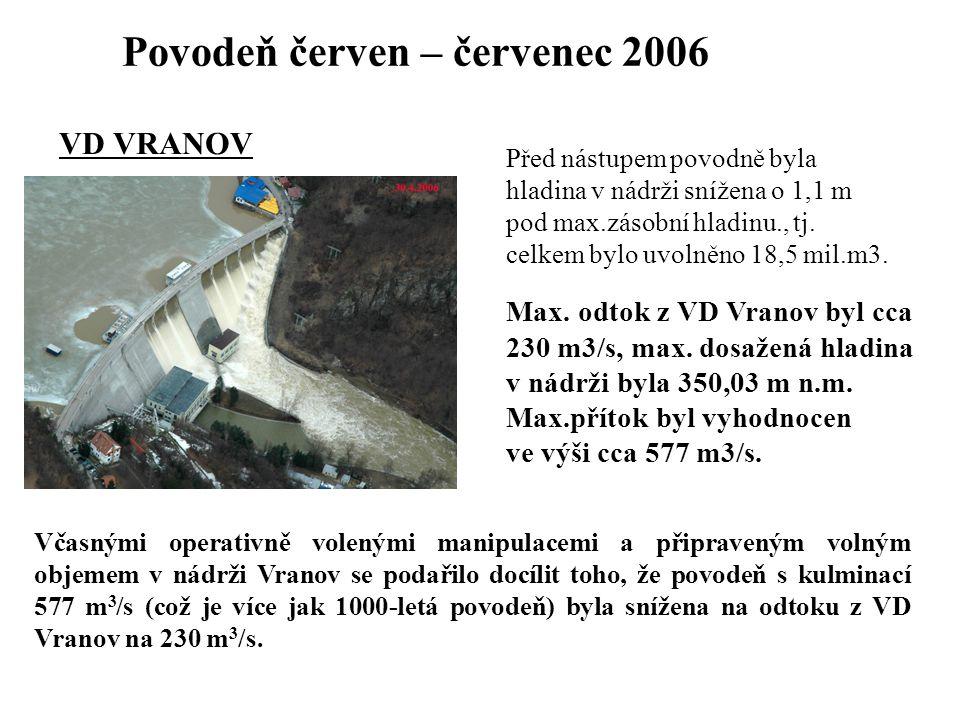 VD VRANOV Před nástupem povodně byla hladina v nádrži snížena o 1,1 m pod max.zásobní hladinu., tj. celkem bylo uvolněno 18,5 mil.m3. Max. odtok z VD