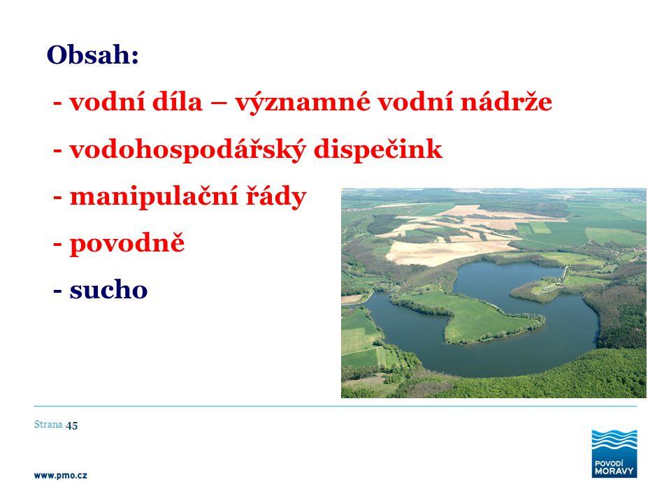 Strana 45 Obsah: - vodní díla – významné vodní nádrže - vodohospodářský dispečink - manipulační řády - povodně - sucho