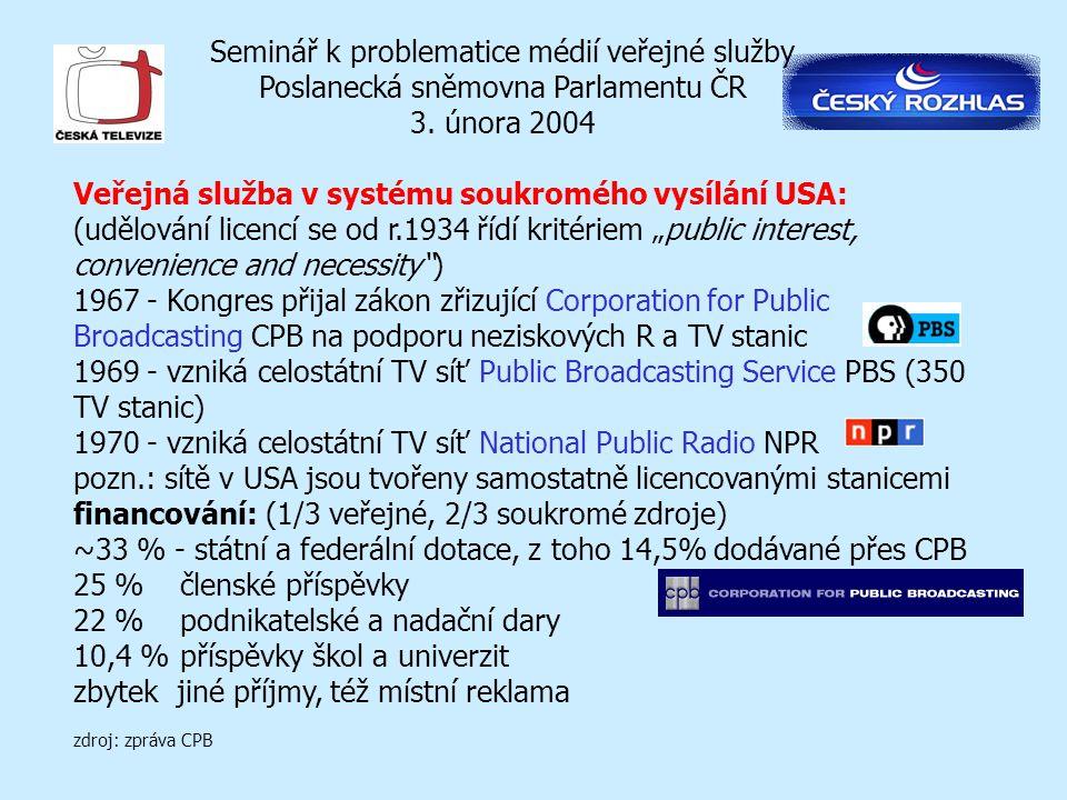Seminář k problematice médií veřejné služby Poslanecká sněmovna Parlamentu ČR 3. února 2004 Veřejná služba v systému soukromého vysílání USA: (udělová
