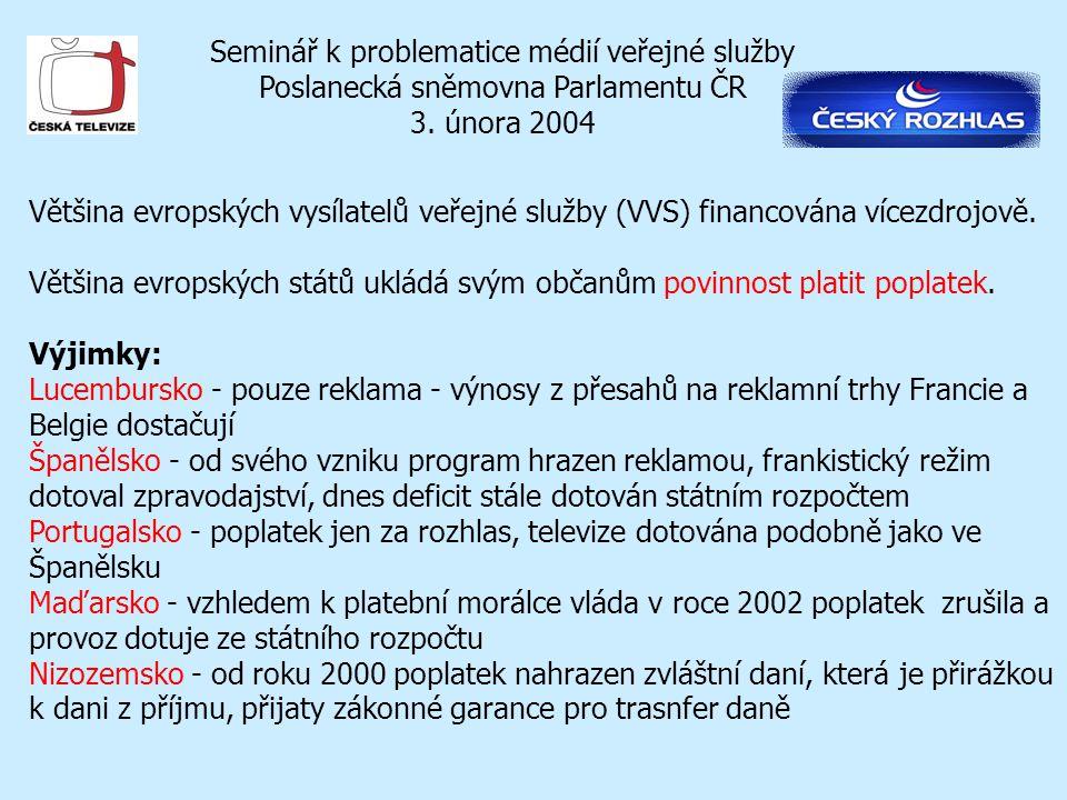 Seminář k problematice médií veřejné služby Poslanecká sněmovna Parlamentu ČR 3. února 2004 Většina evropských vysílatelů veřejné služby (VVS) financo