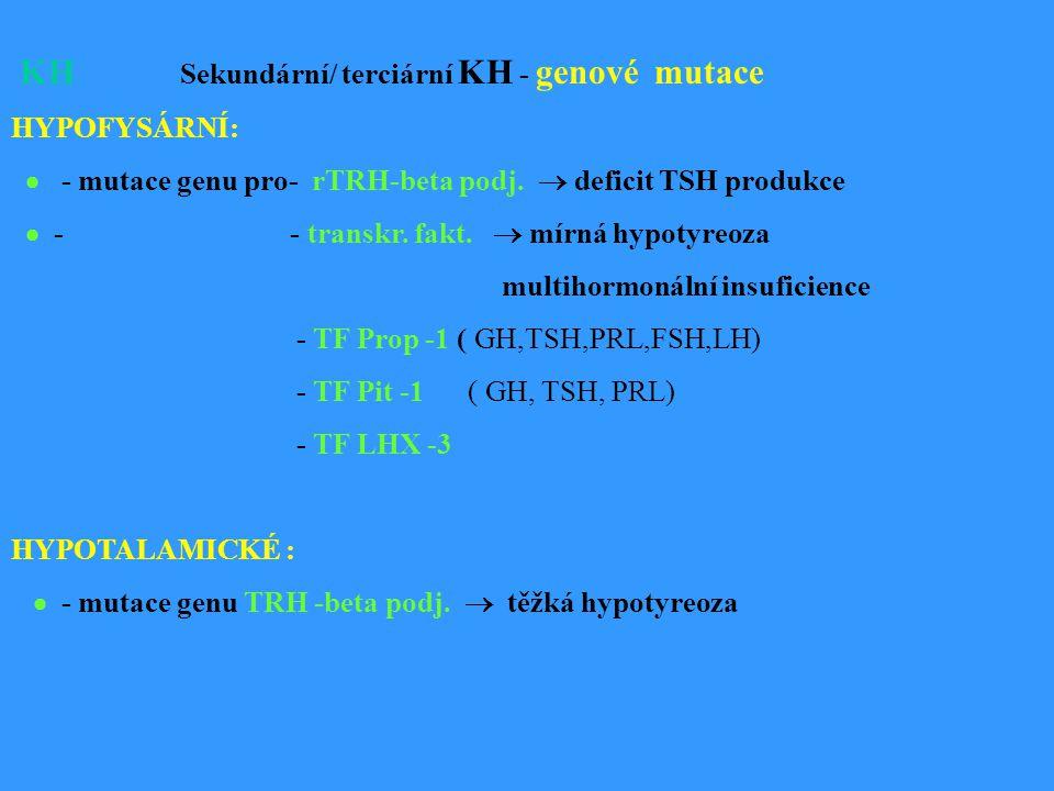 KH Sekundární/ terciární KH - genové mutace HYPOFYSÁRNÍ:  - mutace genu pro- rTRH-beta podj.
