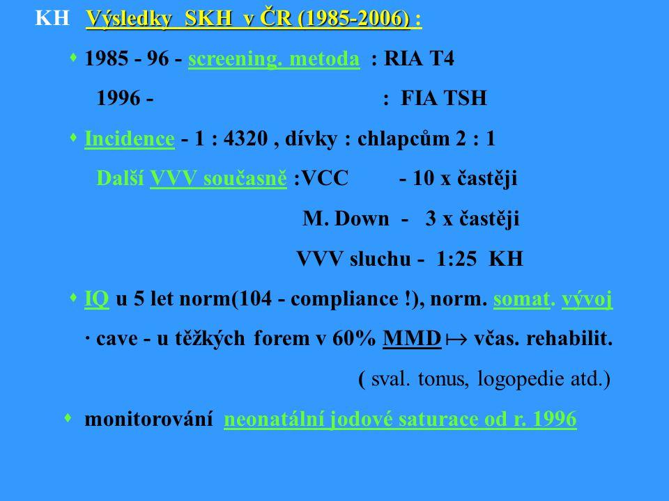 Výsledky SKH v ČR (1985-2006) KH Výsledky SKH v ČR (1985-2006) :  1985 - 96 - screening.