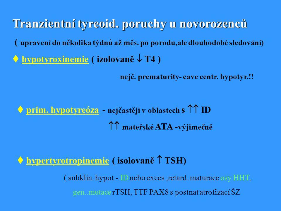 Tranzientní tyreoid.poruchy u novorozenců ( upravení do několika týdnů až měs.