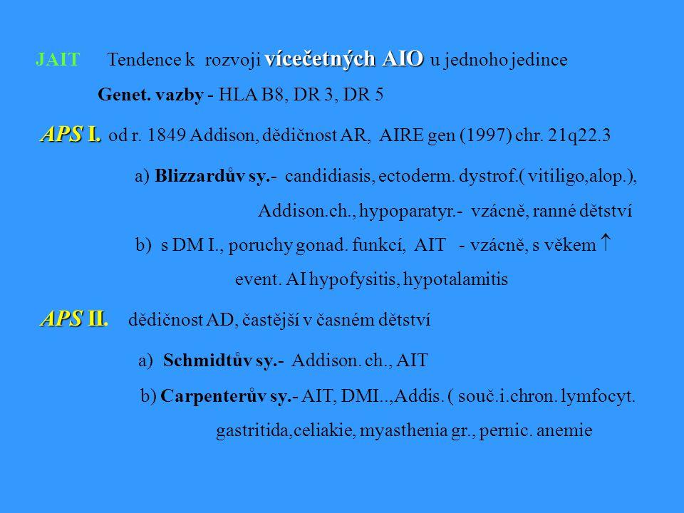 vícečetných AIO JAIT Tendence k rozvoji vícečetných AIO u jednoho jedince Genet.